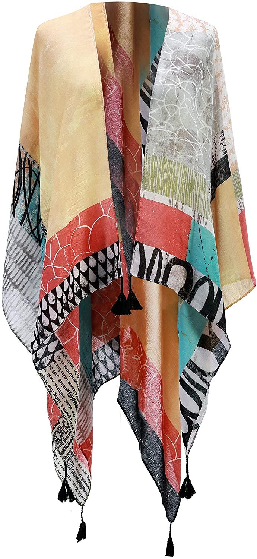 DEMDACO Geometric Collage Blocks Multicolored One Size Fits Most Polyester Fabric Kimono