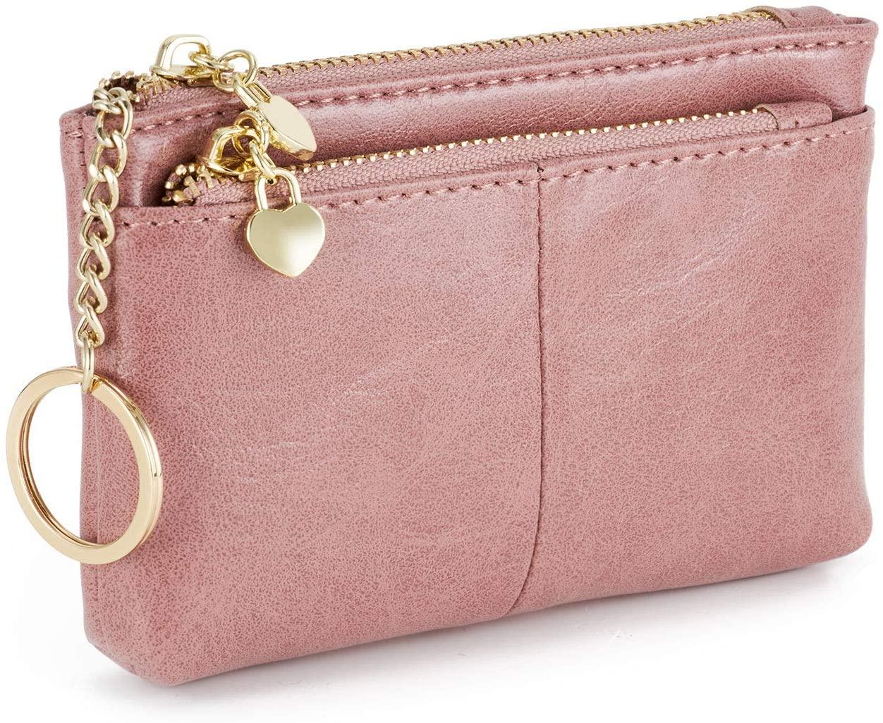 ZOOEASS Women PU Leather Zip Mini Coin Purse With Key Ring Triple Zipper Card Holder Wallet (Pink)