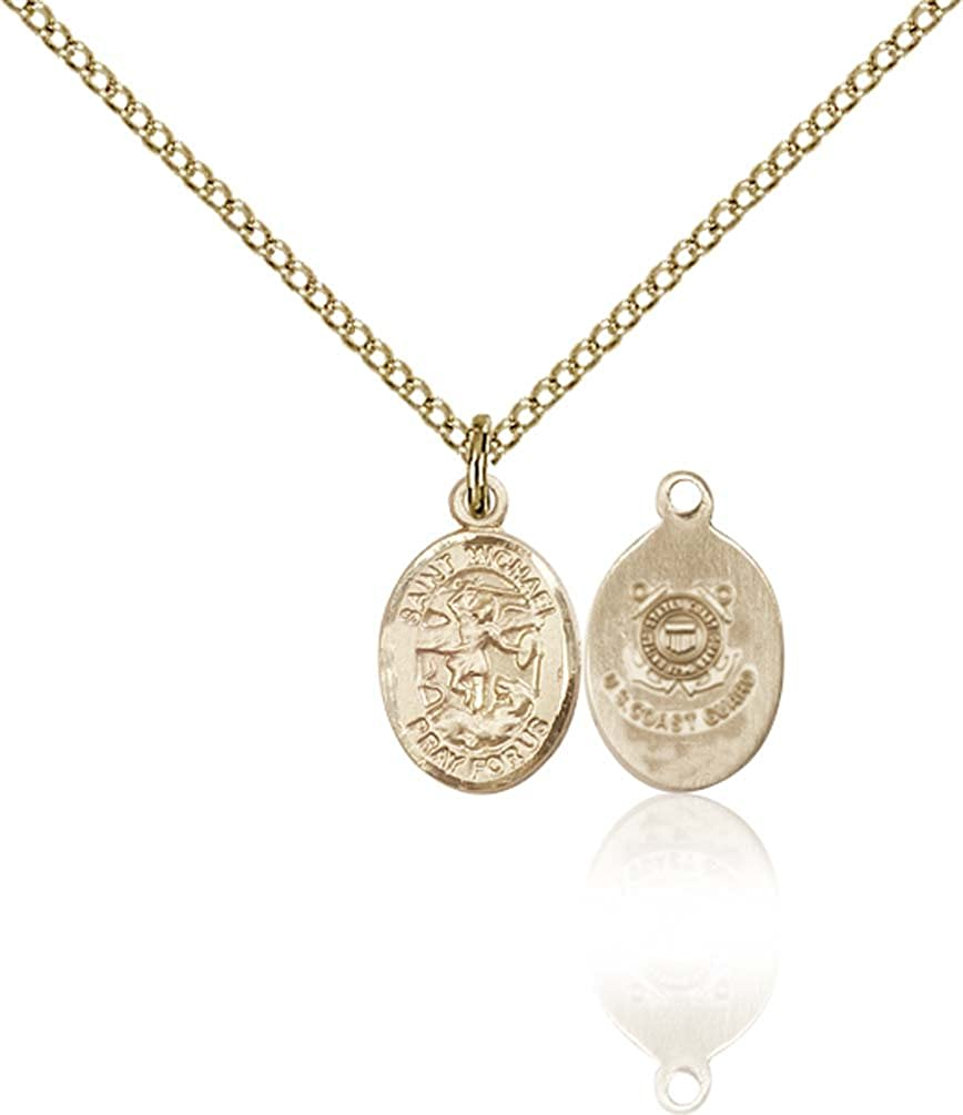 F A Dumont 14kt Gold Filled St. Michael/Coast Guard Pendant with 18 Gold Filled Lite Curb Chain. Patron Saint of Police Officers/EMTs
