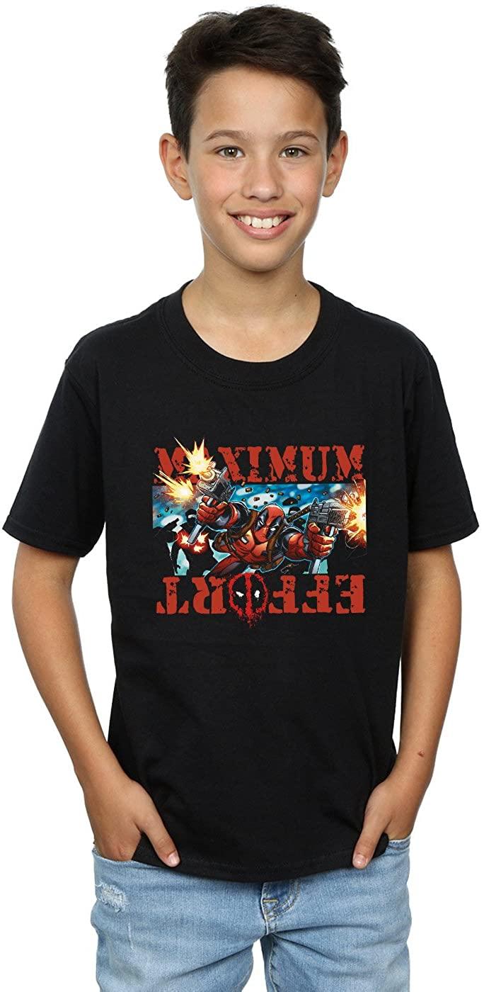 Marvel Boys Deadpool Maximum Effort T-Shirt 7-8 Years Black