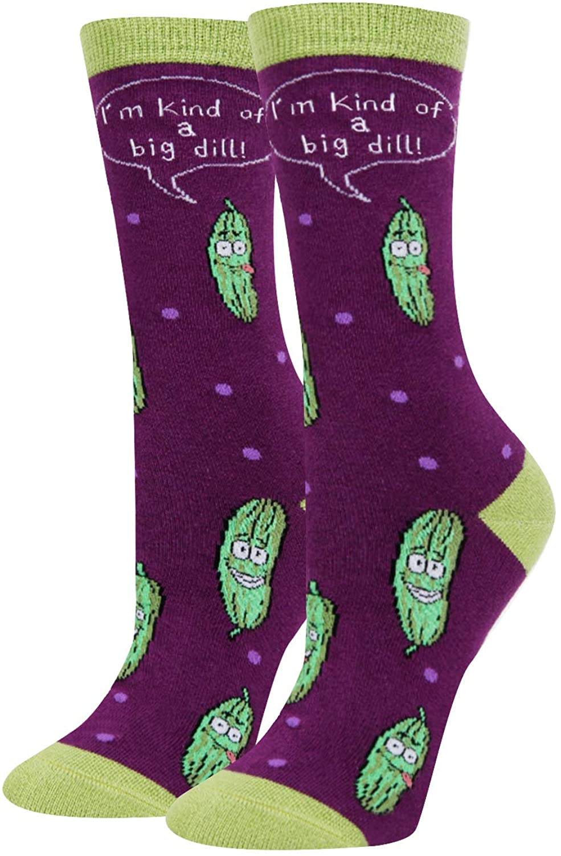 HAPPYPOP Women's Pineapple Big Dill Socks, Novelty Casual Fruit Socks Funny Gift