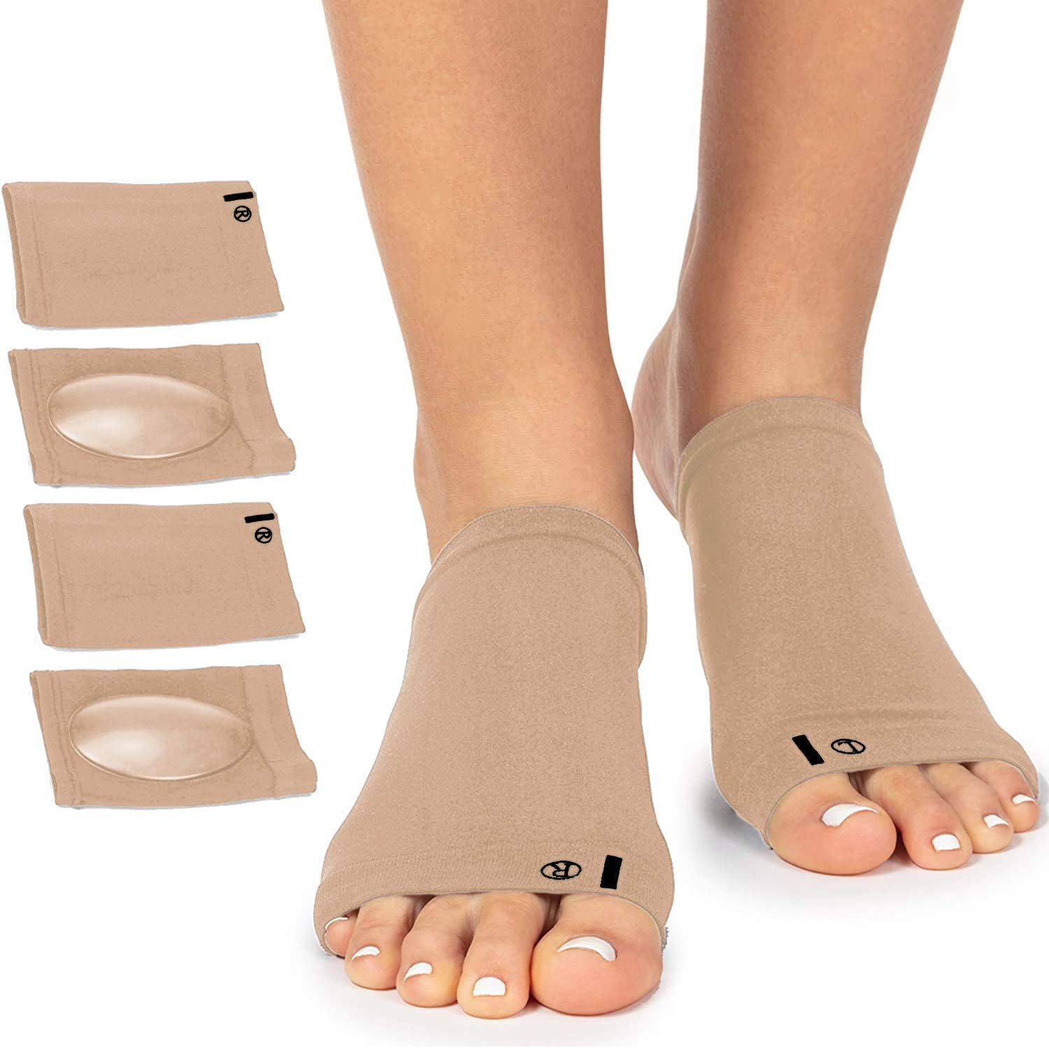 Arch Support Brace for Flat Feet with Gel Pad Inside - 2 Pairs - Plantar Fasciitis Support Brace - Compression Arch Sleeves for Women, Men - Foot Pain Relief for Planter Fasciitis, Arch Pain (Nude)