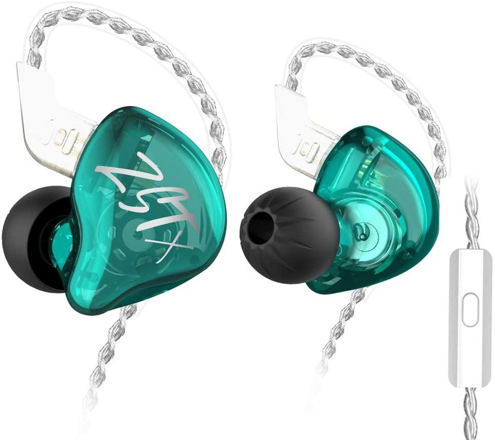 KZ ZSTX in Ear Headphone, KINBOOFI 1BA 1DD HiFi Earphone with Hybrid Driver High Fidelity Sound IEM Headset with Detachable Cable (with Microphone, Cyan)