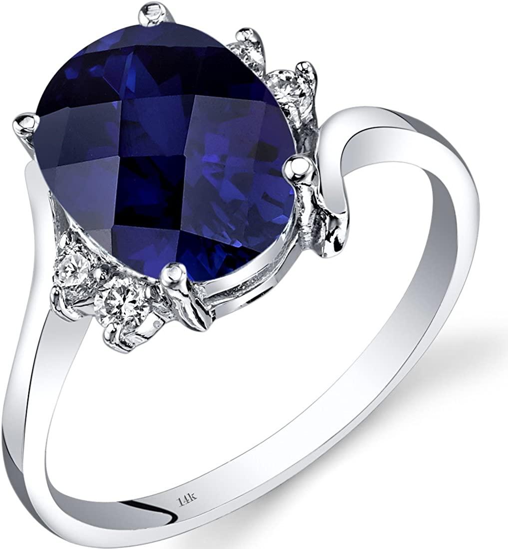 14K White Gold Created Sapphire Diamond Bypass Ring 3.50 Carat