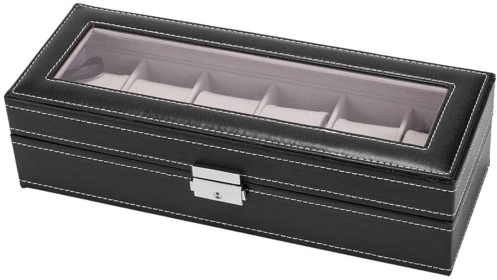 RBtoday 6 Slot Leather Watch Box Display Case Organizer Glass Jewelry Storage Black - Watch Dislpay Box Organizer