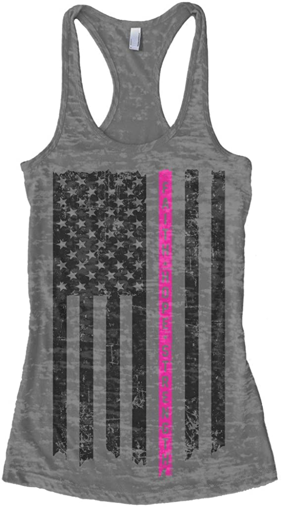Threadrock Women's Thin Pink Line Breast Cancer Flag Burnout Racerback Tank Top