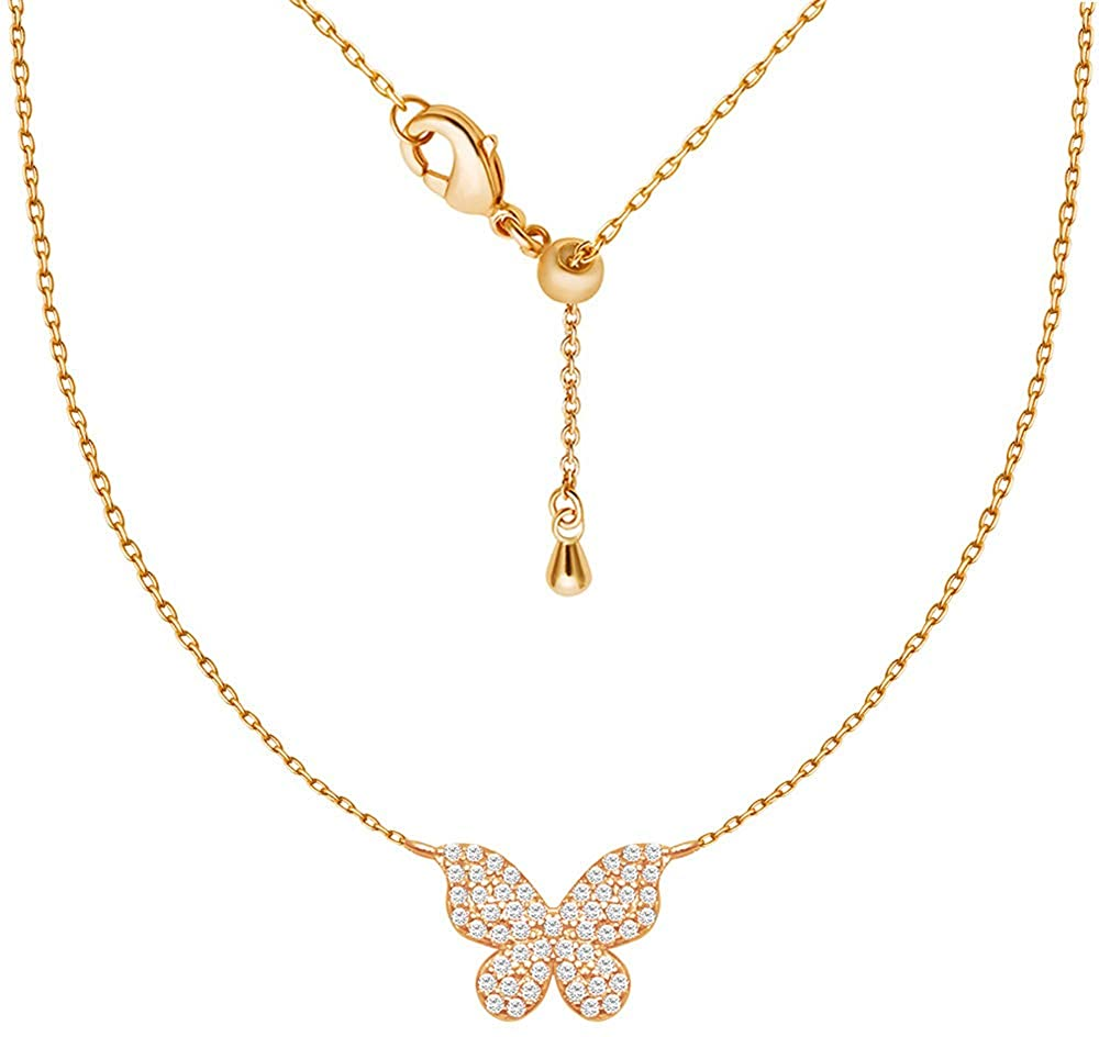 wowshow Butterfly Pendant Necklace with Paved Micro Cubic Zirconia Charm CZ Chain 14k Gold Plated for Women Girls