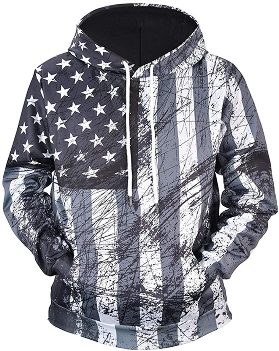 Mens 3D Printed Hoodies,Soft Hooded Sweatshirts Cool Hip Hop Pullover Plus Size