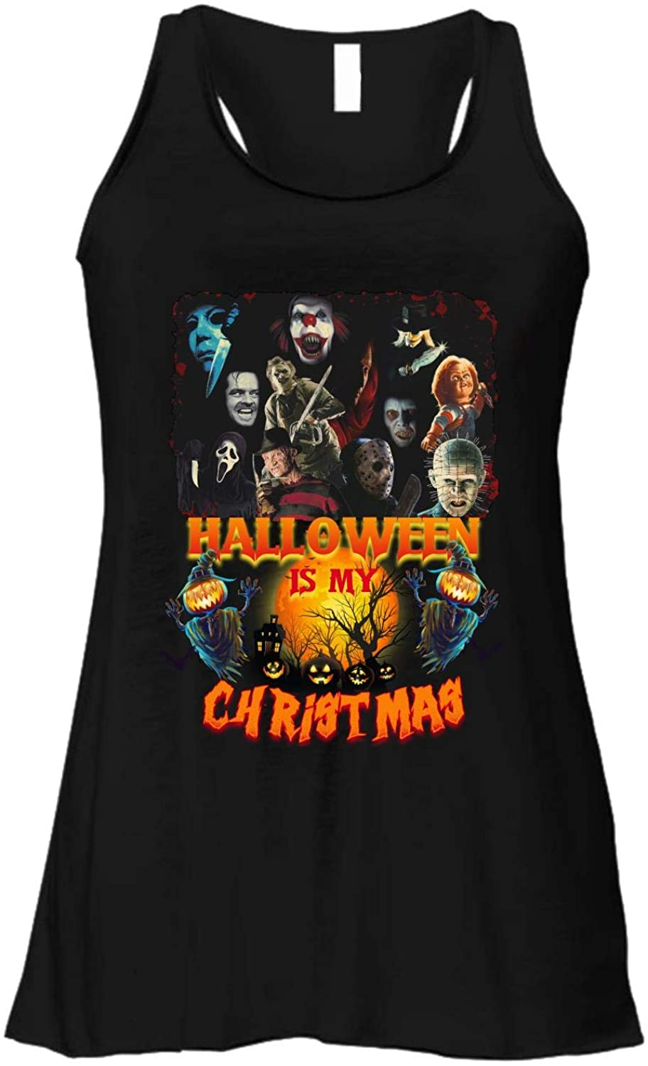Halloween is My Christmas Love Horror Movies Gift Tank Tops Womens