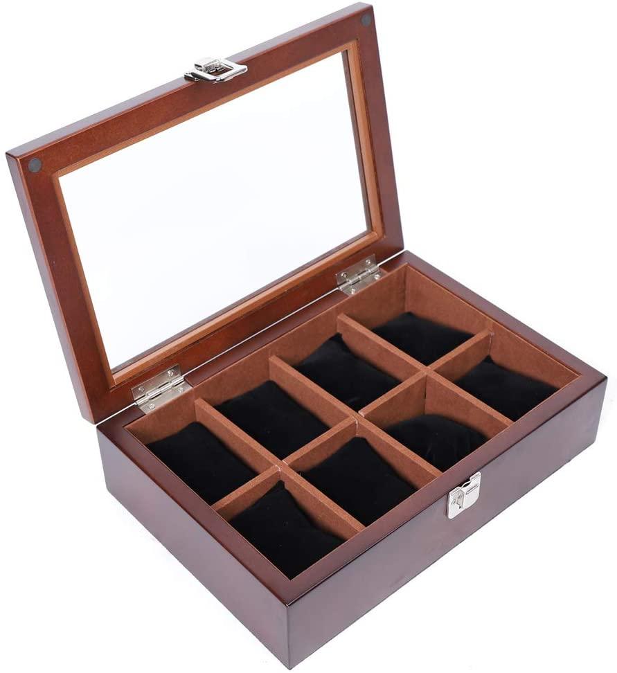 8 Slots Watch Box Display Case Jewelry Storage Organizer Glass for Men & Women (Brown)