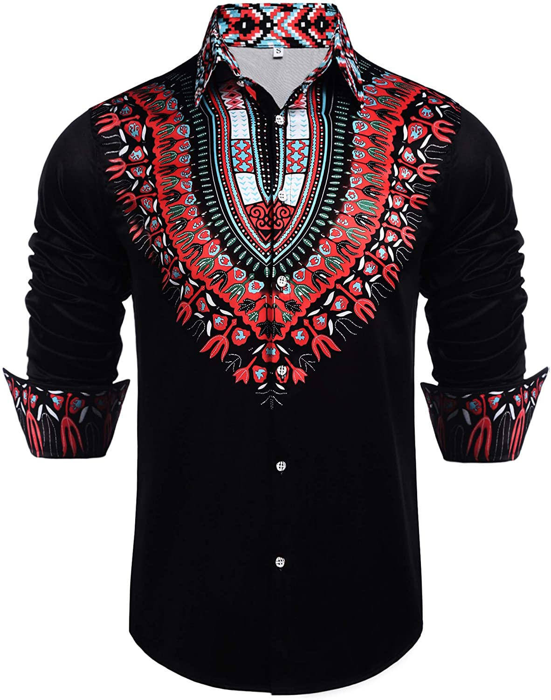 Daupanzees Mens African Dashiki Shirt Long Sleeve African Print Casual Button Down Shirt