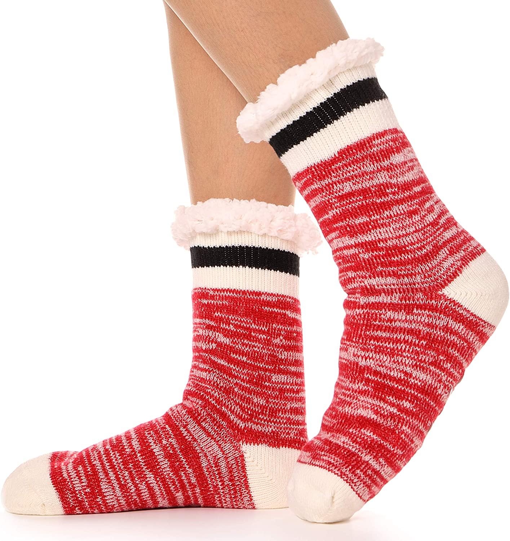 Womens Fuzzy Slipper Socks Warm Knit Thick Soft Heavy Fleece lined Christmas Stockings Winter Socks