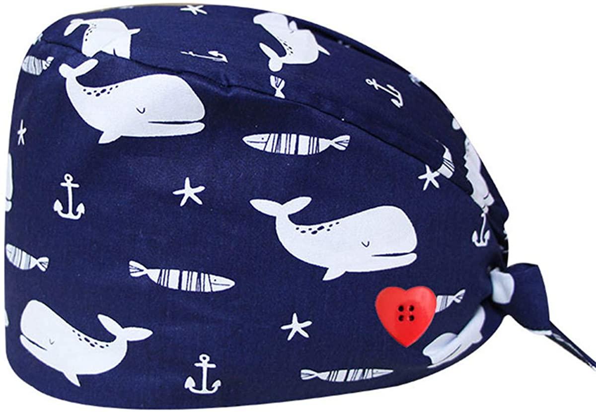 Abirfig PrintedCaps with Buttons Sweatband Adjustable Tie Back Washable Reusable Bouffant Hats