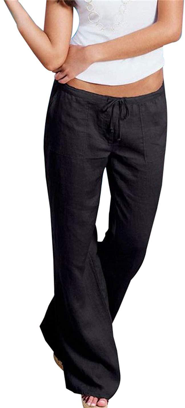 Jenkoon Womens Summer Cotton Drawstring Casual Long Wide Leg Pants Trouser