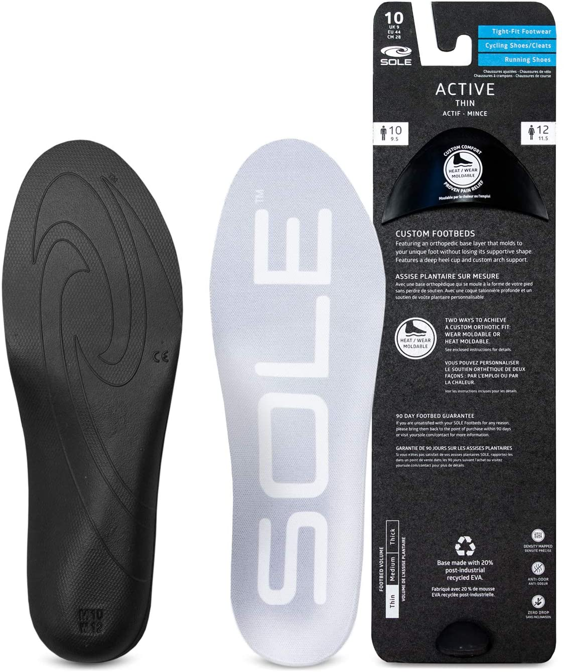SOLE Active Thin Shoe Insoles - Men's Size 13/Women's Size 15