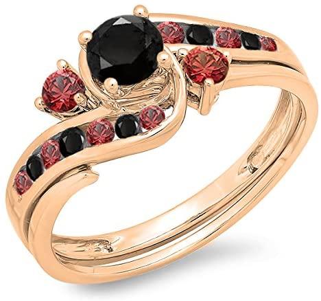 Dazzlingrock Collection 10K Gold Round Black Diamond & Red Ruby Ladies Swirl Bridal Engagement Ring Band Set
