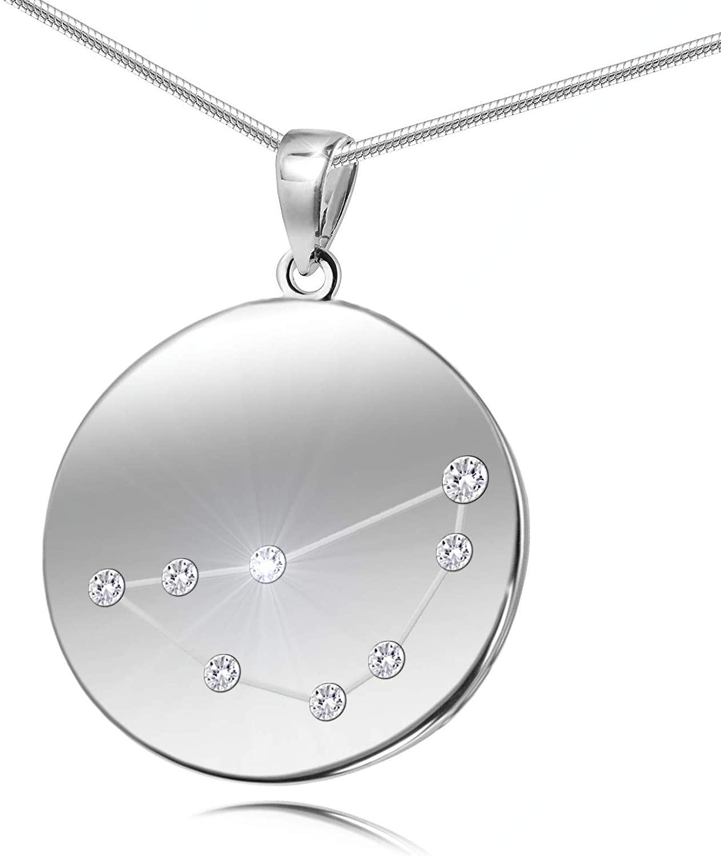LillyMarie Ladies Chain Silver 925 Original Swarovski Elements Lucky Charm Talisman Star Sign Pendant Length Adjustable Gift bag Girlfriend