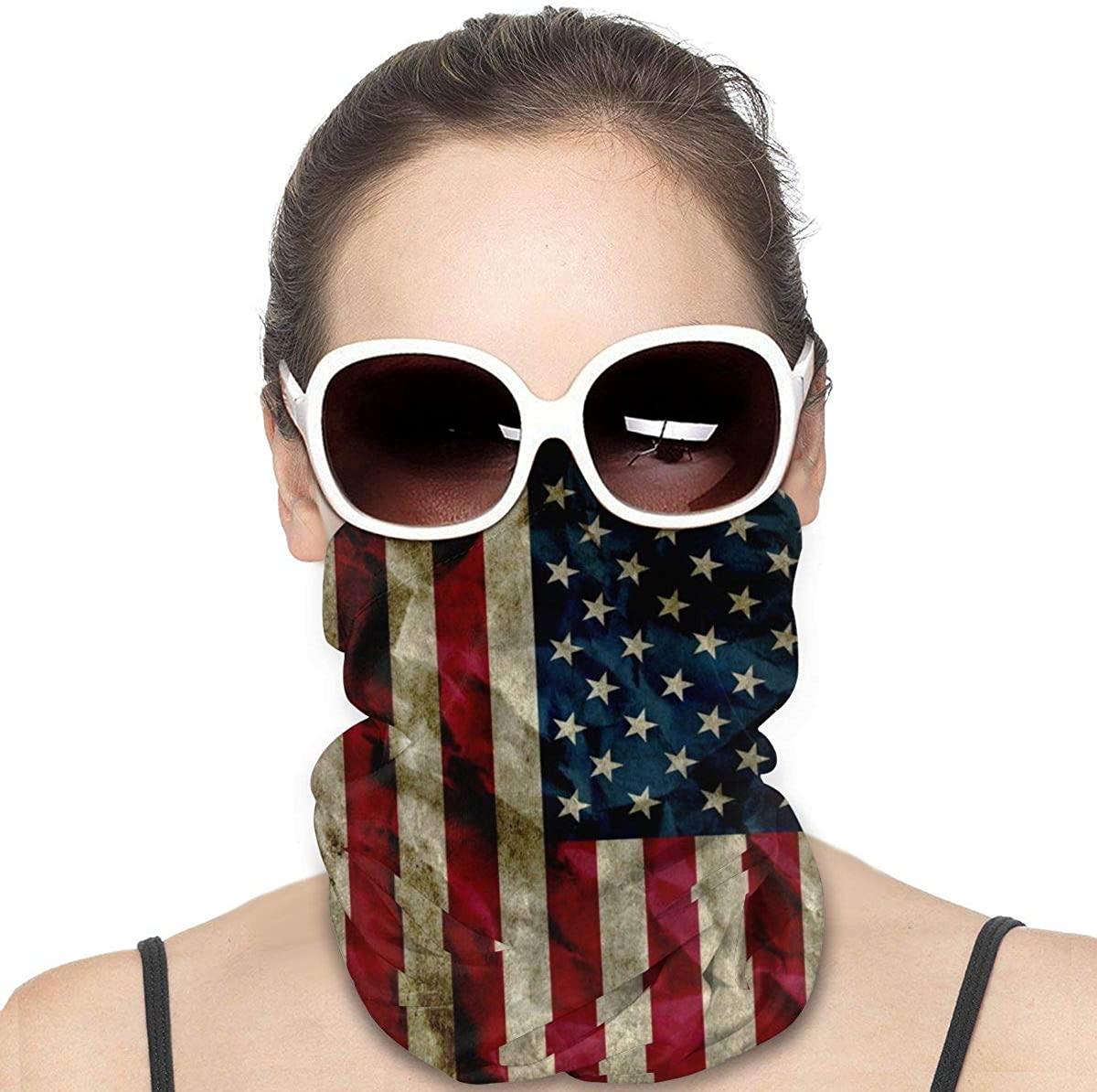 niujinmali Novelty Seamless Face Mask - Vintage American Flag Bandanas for Dust, Outdoors, Festivals, Sports