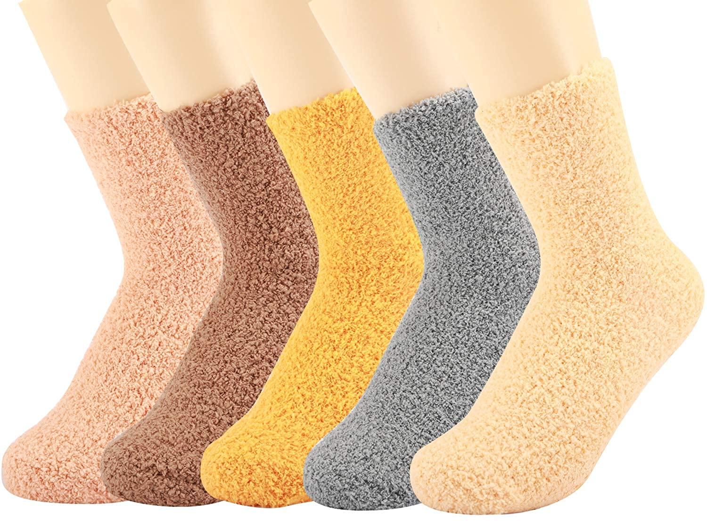 5 Pack Non-slip Women Girls Fuzzy Fluffy Socks, Cabin Soft Warm Slipper Crew with Grips Socks