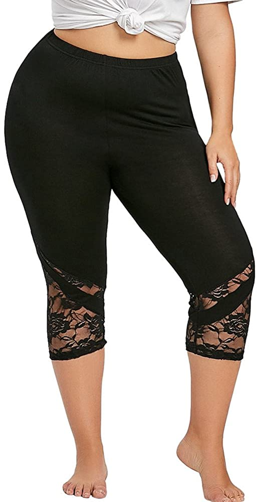 iHHAPY Women's Yoga Pants High Waist Capri Leggings Lace Sport Workout Leggings