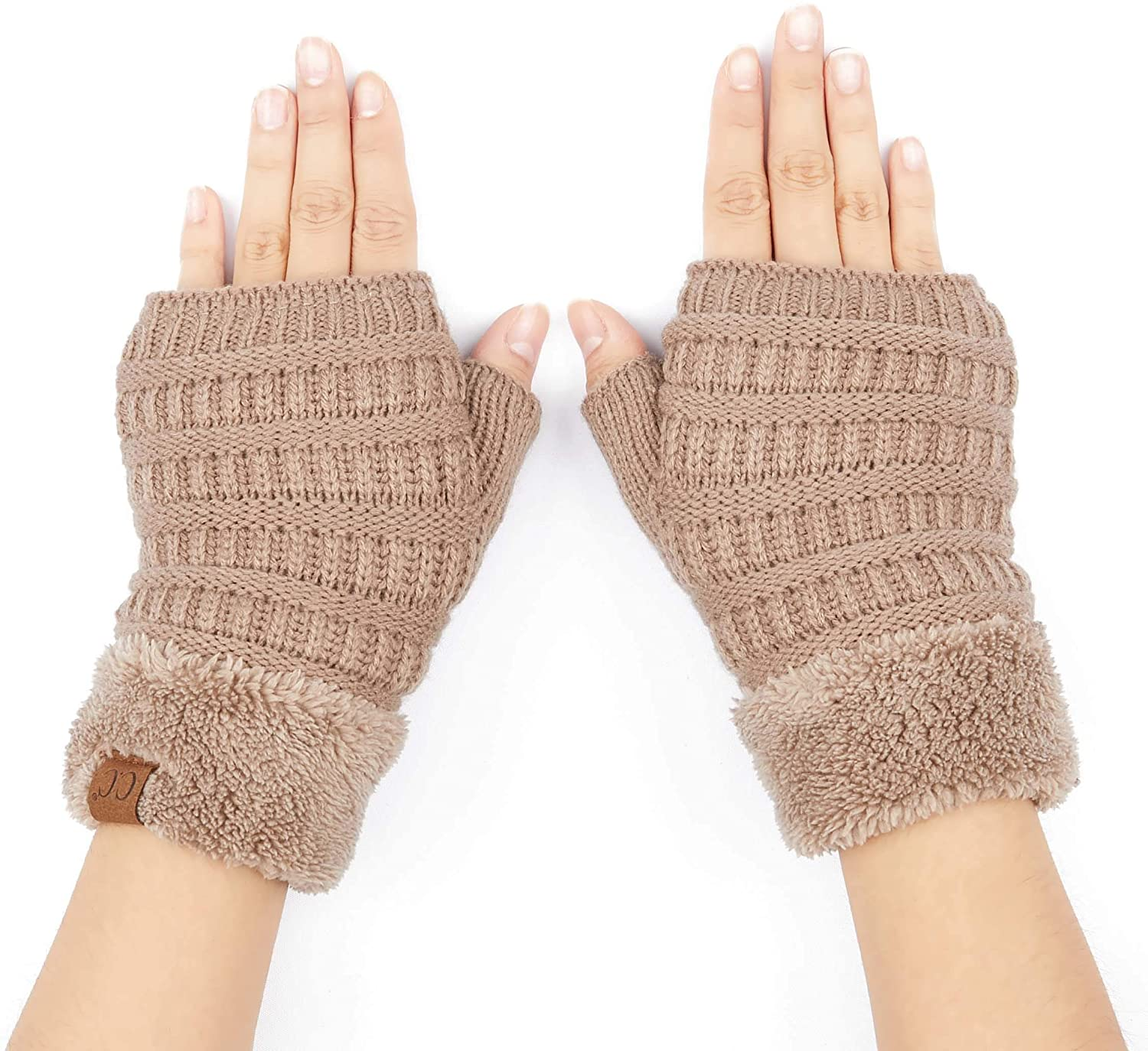 C.C Fingerless Gloves Fuzzy Lined Knit Wrist Warmer Solid Ribbed Glove (FLG-25)