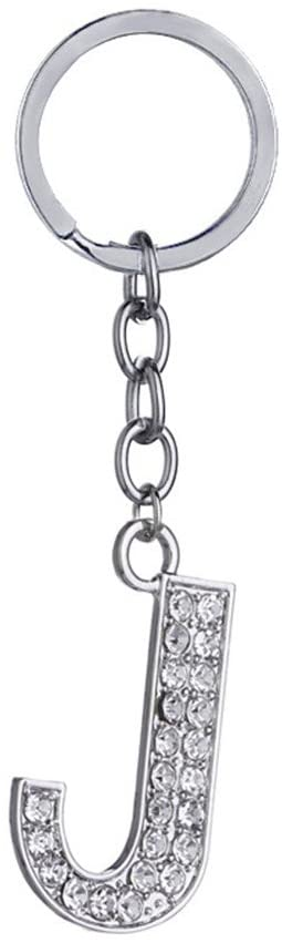 Key Chain 26 Alphabet English Letters Crystal First Initial Name Charms for Key Rings (J)