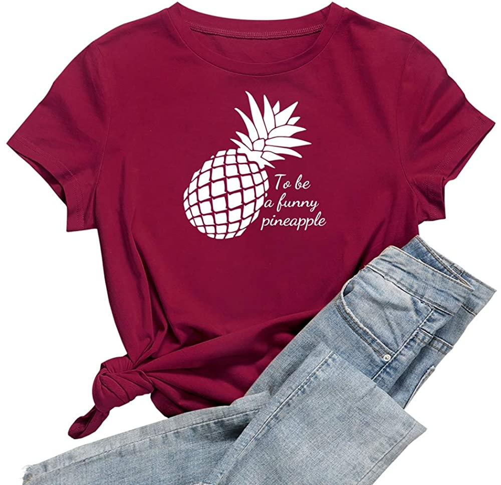Teenage Gifts for Girls Funny Pineapple Casual Tops Graphic T Shirts Cotton Tees T Shirt Women Letter Print