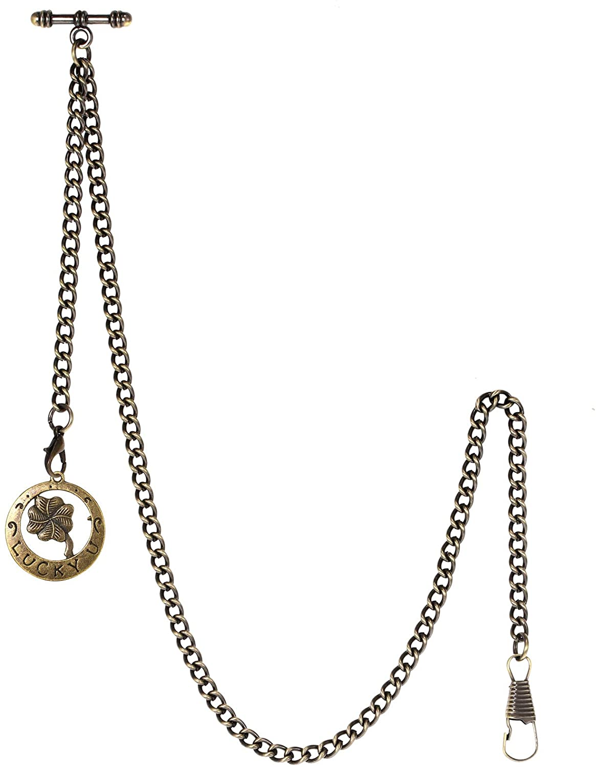 TREEWETO Men's Albert Chain Pocket Watch Curb Link Key Chain 2 Hooks with Antique Lucky Four-Leaf Clover Pendant Design Charm Fob T Bar