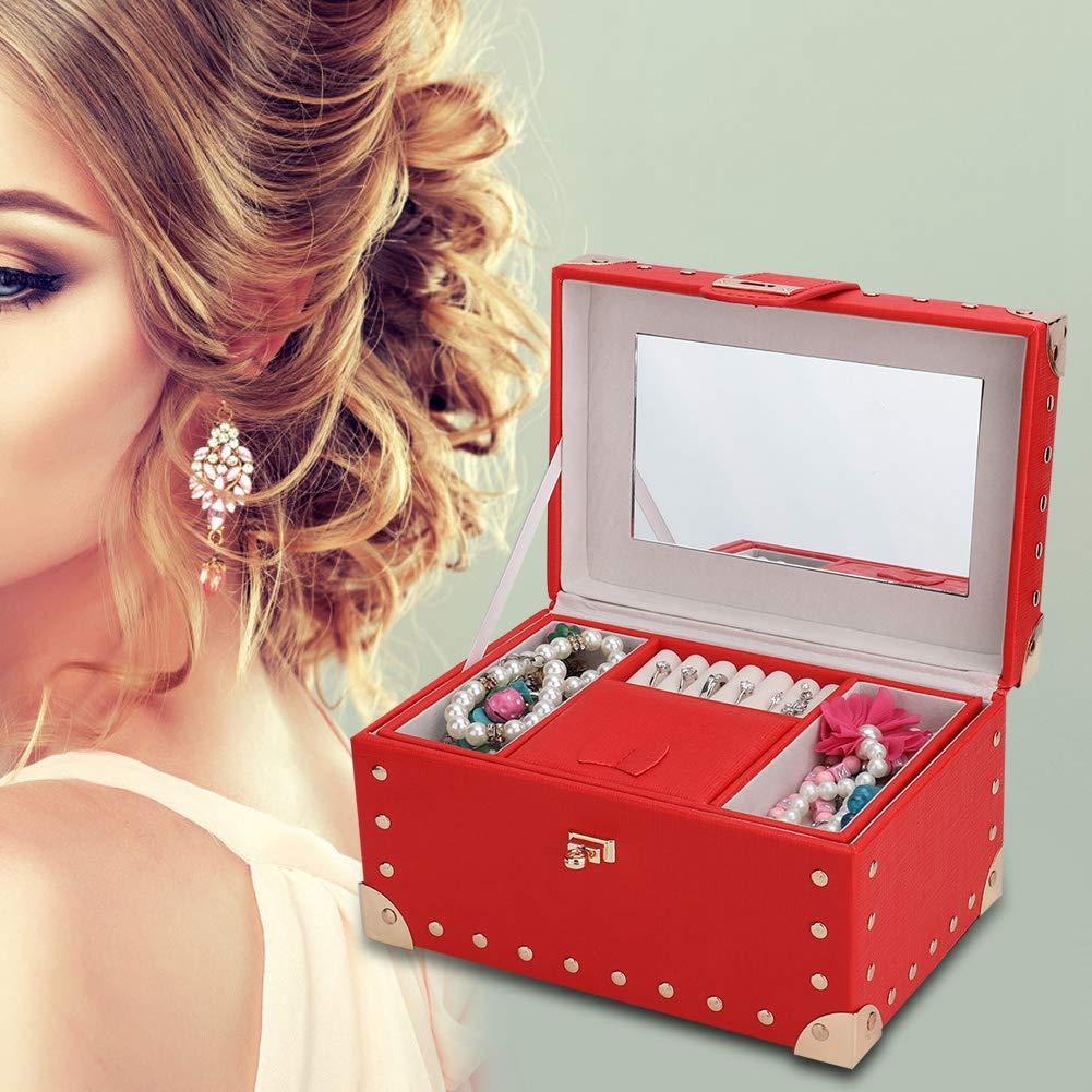 Jewelry Storage Box Jewelry Storage Cabinet Jewelry Display 2-Layers Necklace Storage Earring Container Box Jewelry Holder with Handle Lock Mirror Bracelet Brooch Storage Box(RED)