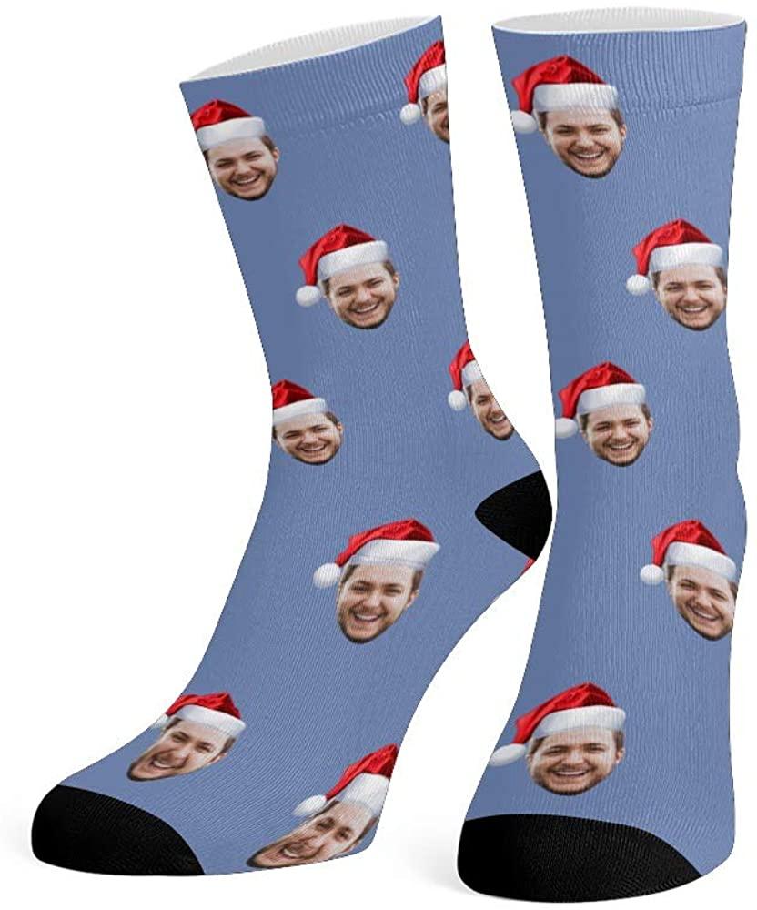 Custom Face Socks with Photo Personalized Print Christmas Santa Hat Crew Socks for Men Women