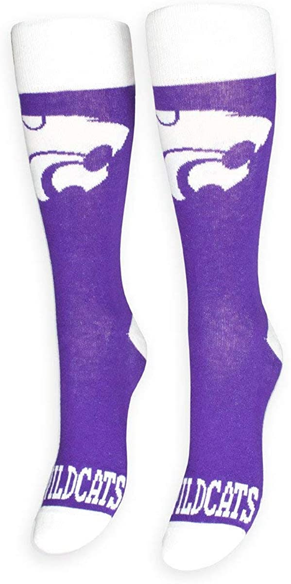 FREAKER Feet, Unisex Casual Dress Fun Colorful Cotton Crew Socks, NCAA Collegiate College Kansas State University Wildcats