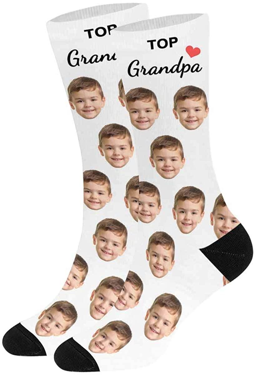 Turn Your Face into Socks Top Grandpa Heart on White, Custom Photo Sock for Men Women