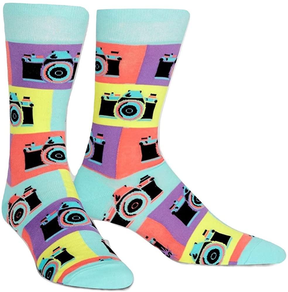 Sock It To Me Men's Say Cheese Retro Camera Photographer Crew Socks