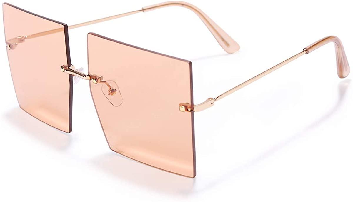 GUVIVI Rimless Oversized Sunglasses for Women Men Trendy Square Fashion Shades Female Colored Lens UV400 Protection