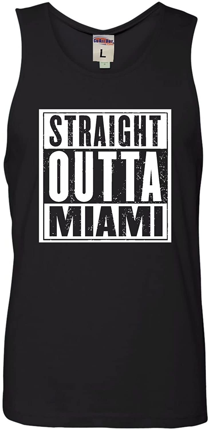 Go All Out Adult Straight Outta Miami Sleeveless Tank Top Cotton T-Shirt