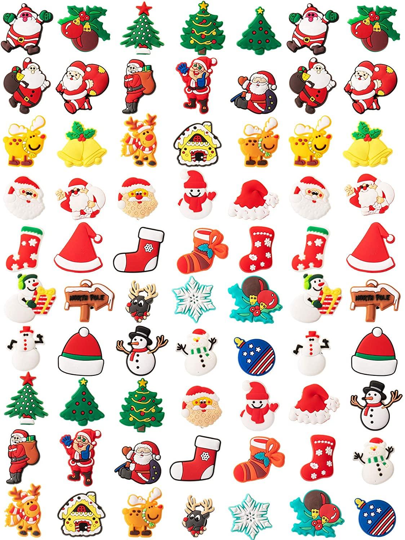 70 Pieces Christmas Shoes Charm Set PVC Christmas Santa Bell Snowman Shaped Shoe Charms