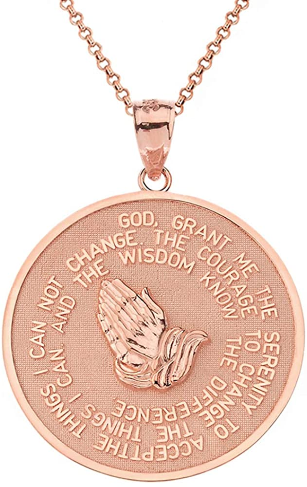 Solid 14k Rose Gold Serenity Prayer with Praying Hands and Lords Prayer Medal Pendant Necklace (1.15)