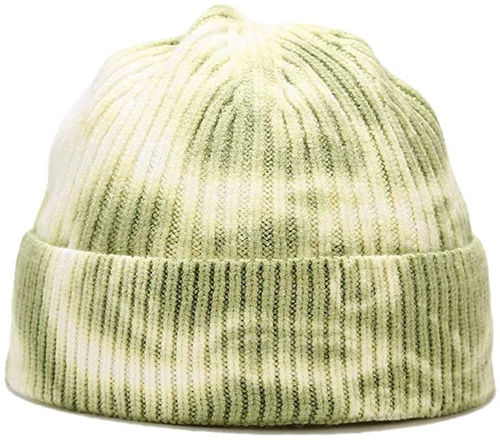 Abourbay Unisex Tie Dye Knitted Beanie Watch Hat Roll up Edge Cuff Skull Caps