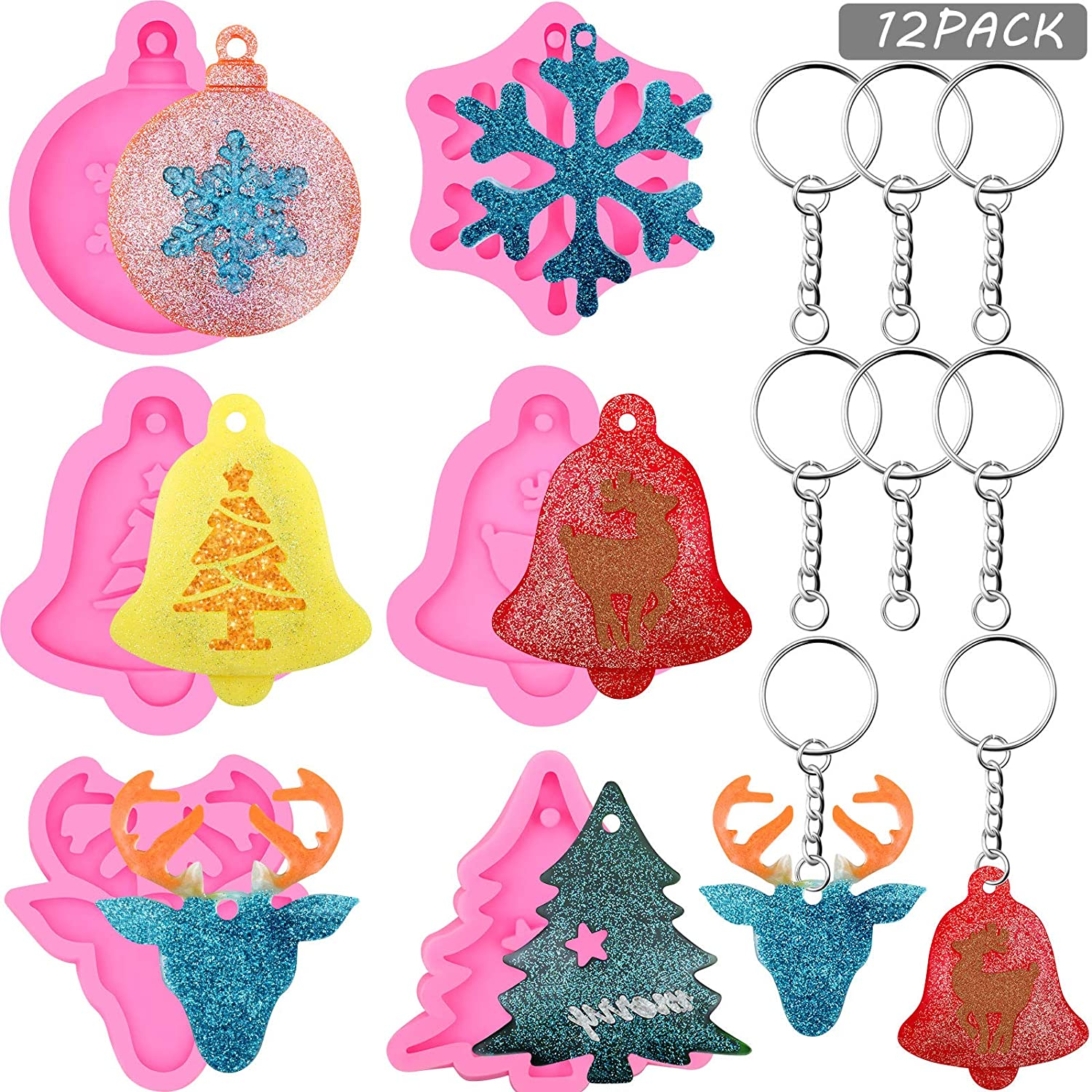 12 Pieces Christmas Resin Mold Keychain Set, 6 Pieces Merry Christmas Tree Bell Snowflake Reindeer Silicone Molds with 6 Pieces Keychain for DIY Chocolate Candy Mold Epoxy Resin Pendent Jewelry
