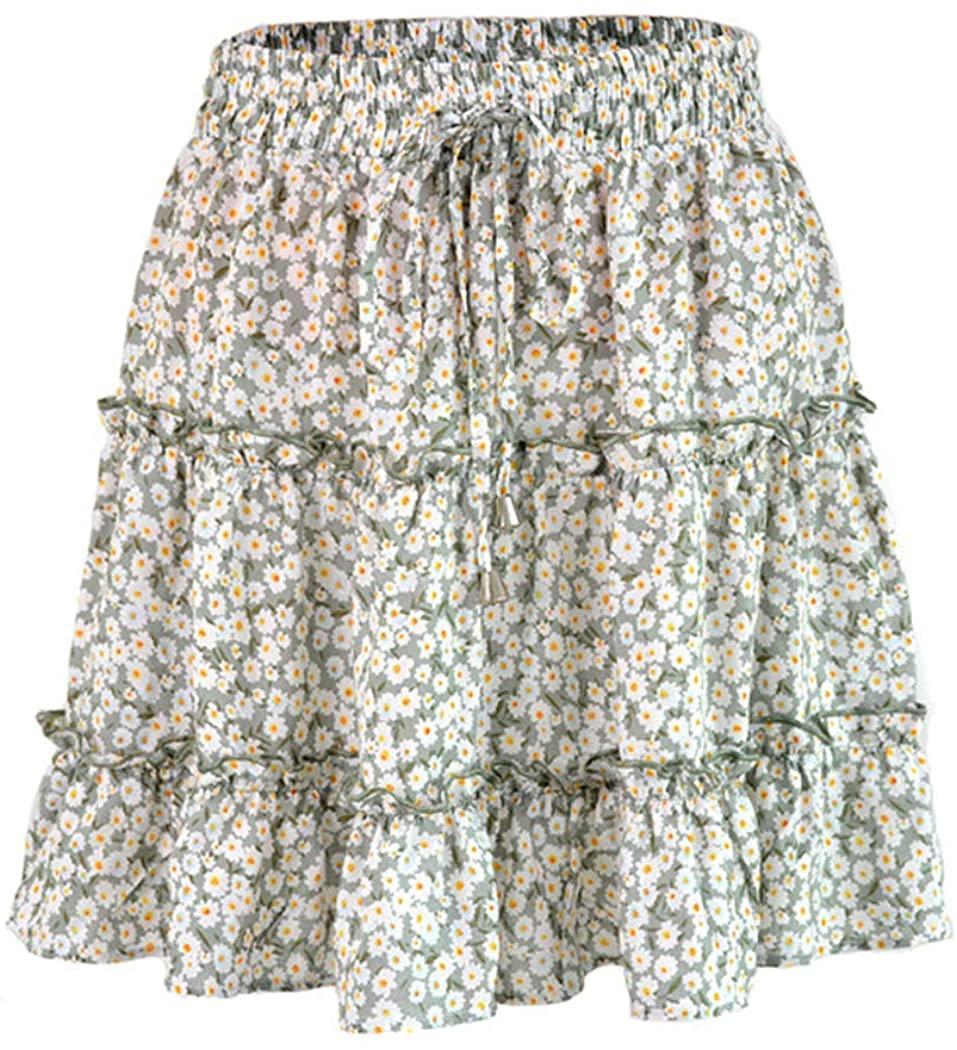 Womens Boho Mini Skirt Flared Short Skirt Polka Dot Pleated Mini Skater Skirt
