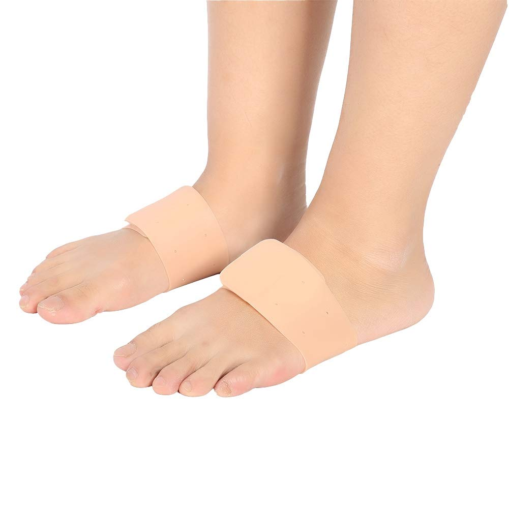 Flat Feet Silicone Orthotic Cushion, Sore Relieve Plantar Fasciitis Arch Support Inserts Compression Sleeve Arch Supports Reusable Compression Foot Wrap for Men and Women(Nude)