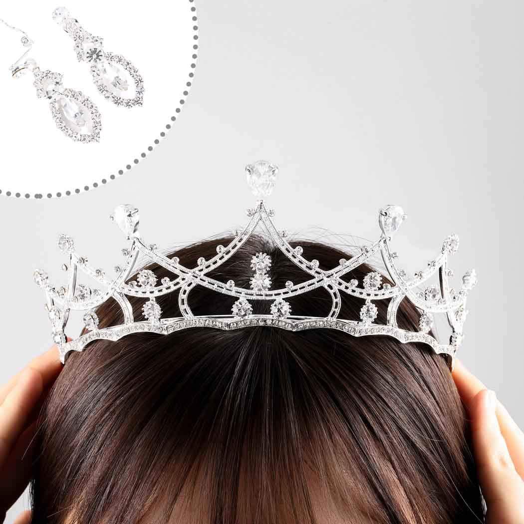 Ursumy Elegant Crown Snowflake Crystal Headpiece Silver Wedding Tiara for Bride (Silver)