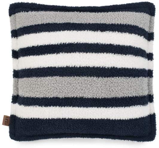 UGG Ana Striped Sherpa Fleece Decorative Throw Pillow, Navy, 20