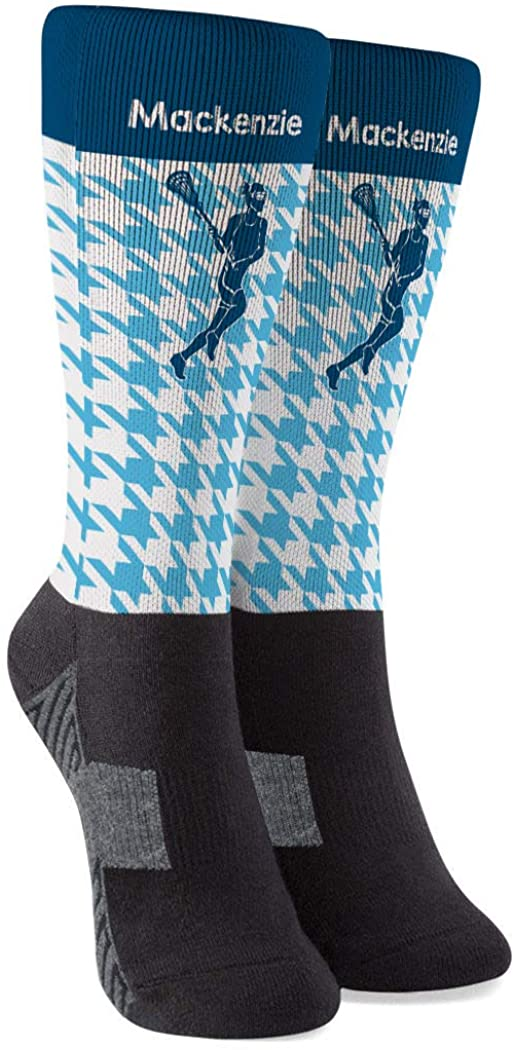 Personalized Girls Lacrosse Printed Mid-Calf Socks | Houndstooth | Colors