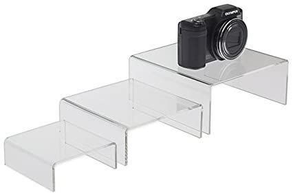 SourceOneOrg Medium (3 1/2, 4 3/4, 5 3/4) Set of 3 Low Rise Clear Acrylic Risers