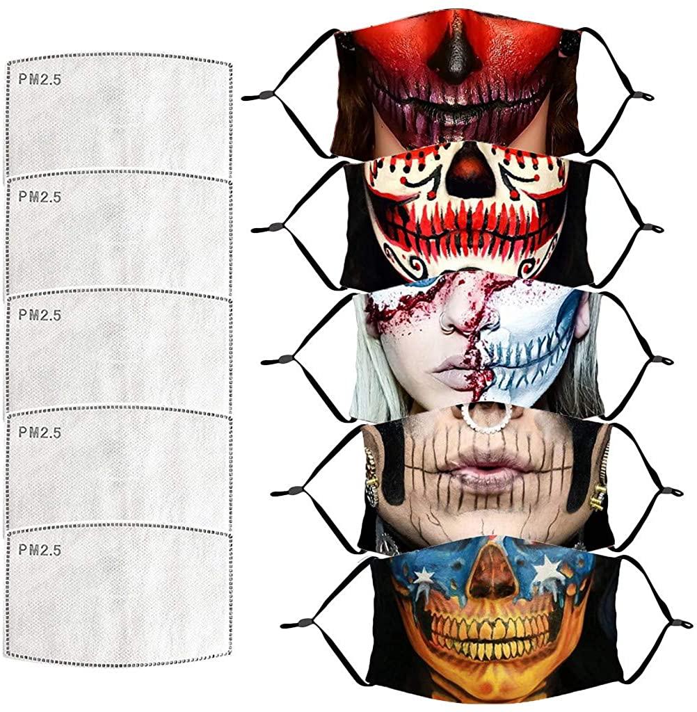 AFEIDD Unisex Face Bandanas Halloween Print Washable Reusable Face Protection Dustproof Breathable Facewear