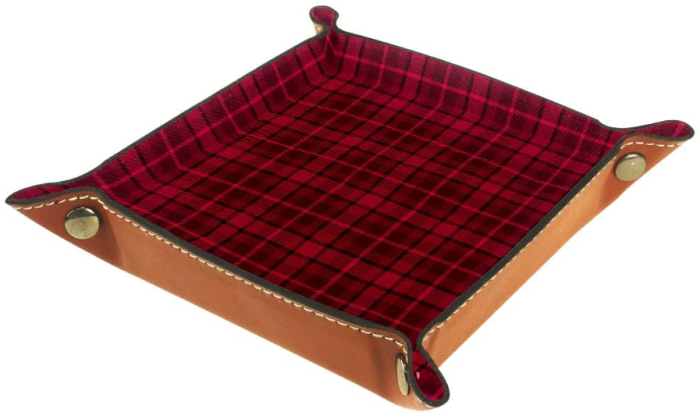 AISSO Valet Tray Red Plaid Printing Leather Jewelry Trays Organizer Box for Wallets, Watches, Keys, Coins, Cell Phones and Office Equipment
