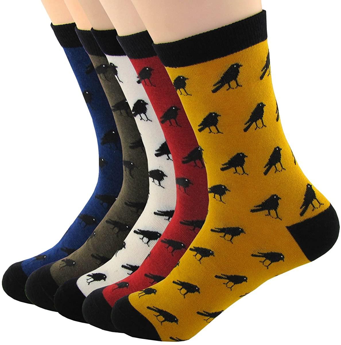 XSBQBC Men's Cute Cartoon Animal Casual Cotton Crew Socks Pack of 5