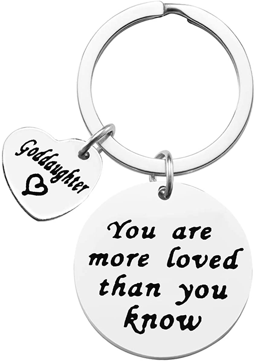 Goddaughter Keychain Gift You are More Loved Than You Know Goddaughter Keychain First Communion Gift Adult Bapitism Gift Religious Jewelry Birthday Christmas Present Personalized Key Chain