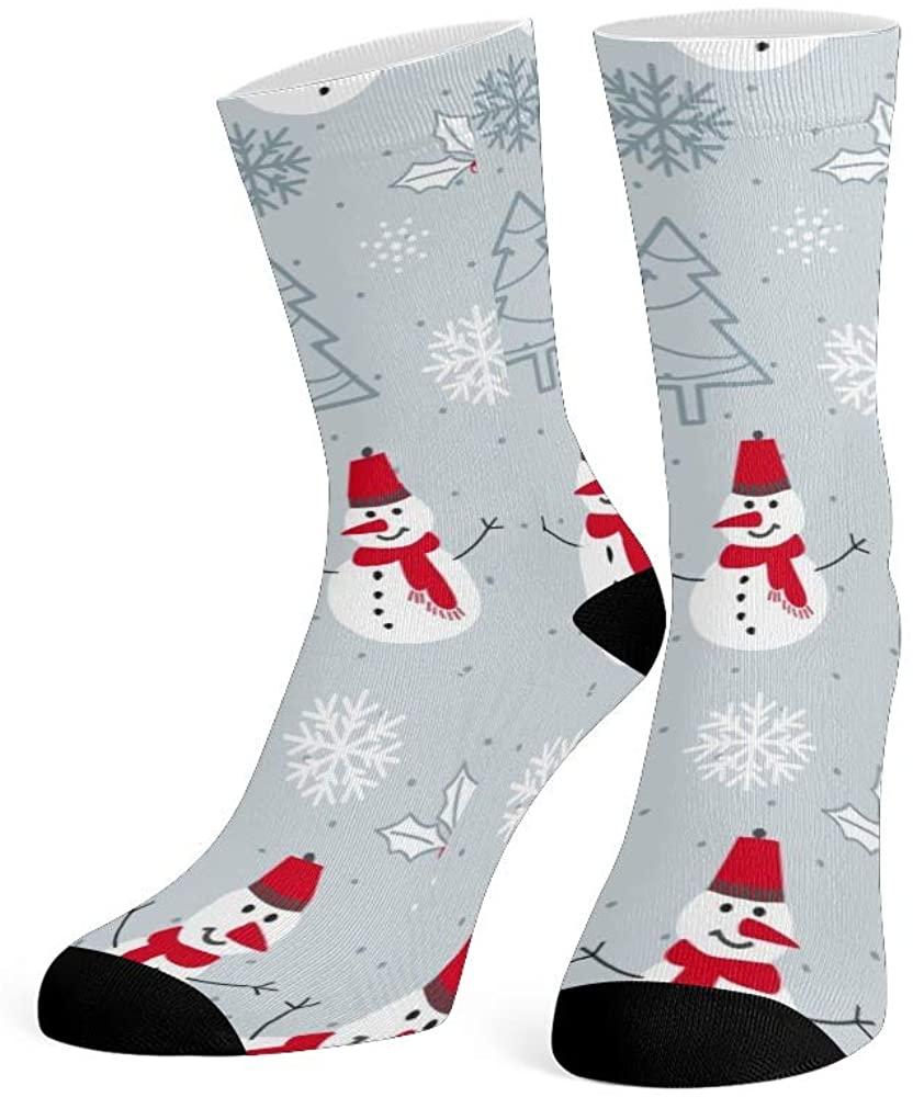 XOZOTY Custom Funny Novelty Christmas Snowman Trees and Snowflakes Crew Socks for Mens Womens